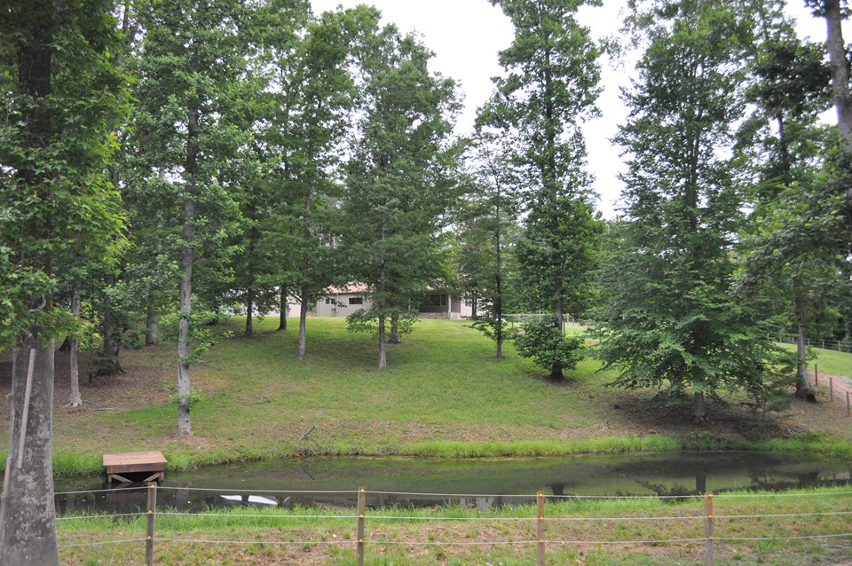 view from the front of the property pleasant setting with the pond and dock.  pond is fed from the overflow of a neighboring pond and has an abundance of fish including some bass!  crapies are always fun to catch as well!  the property is bordered by fence and there is direct access to the feta trails right off the property.